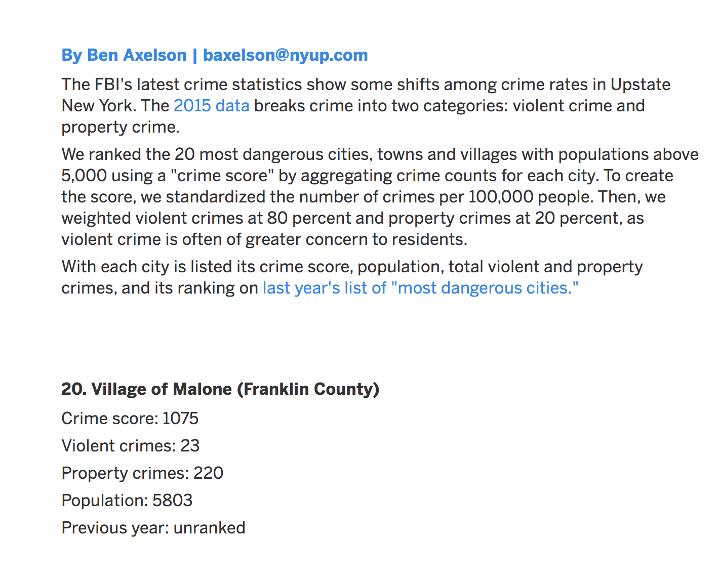 River city malone admin nyup gave the village of malone a so called crime score of 1075 to create the score says author ben axelson we standardized the number of crimes biocorpaavc Gallery