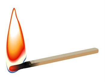 Burning matchstick on white - vector