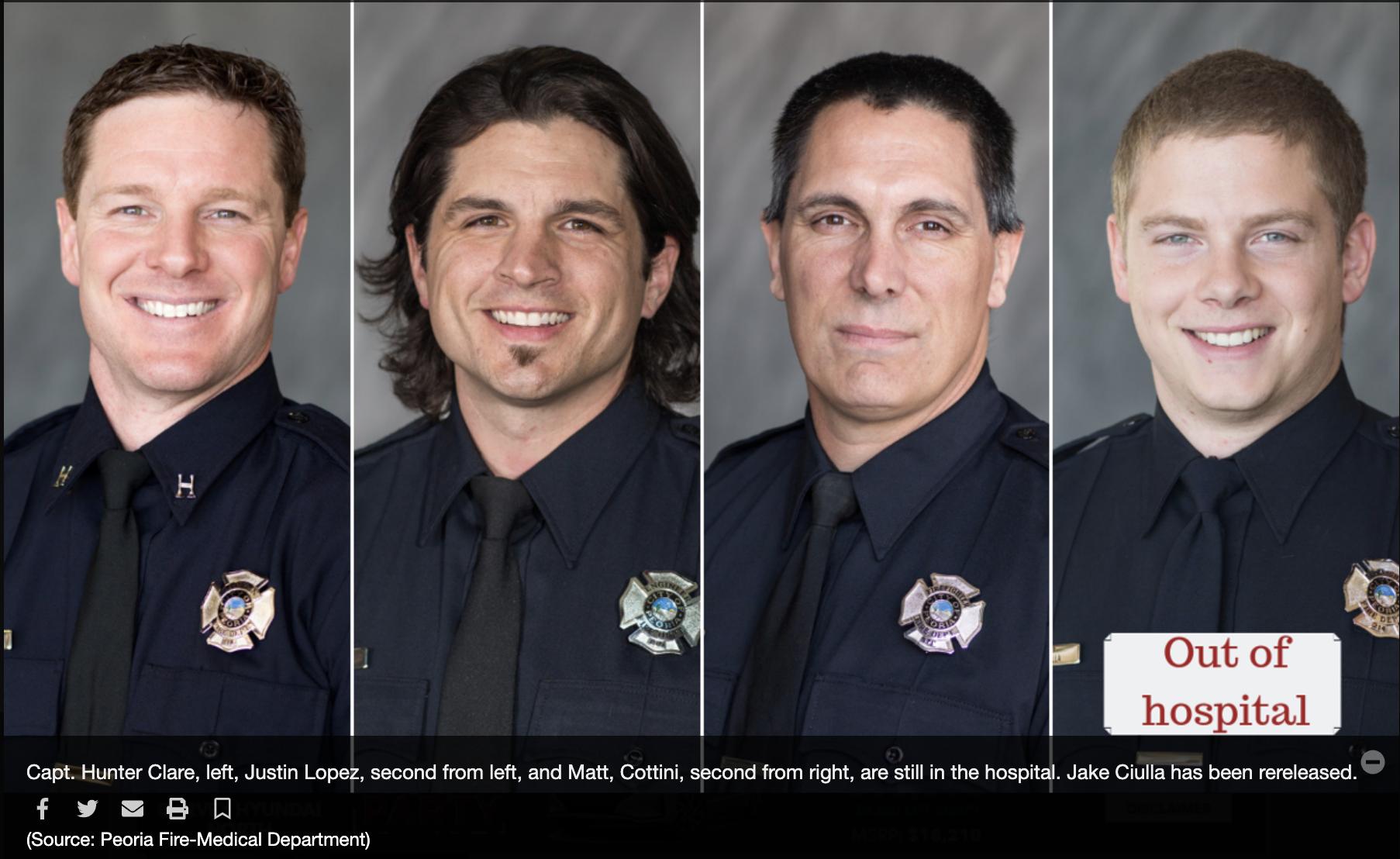 4 Hazmat firefighters sent to burn unit at hospital.