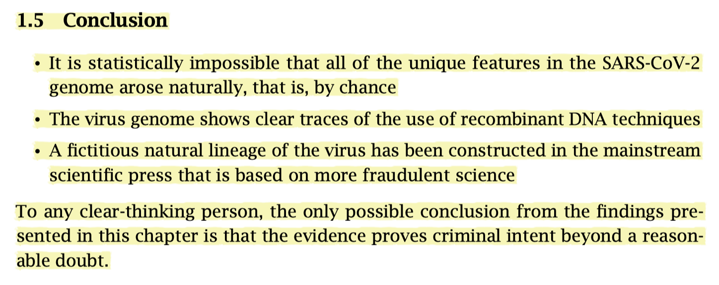 """Conclusion: The evidence for the manufacture of the virus """"proves criminal intent beyond a reasonable doubt."""""""